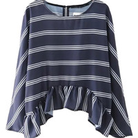 Navy Stripe Print Keyhole Back Peplum Detail Asymmetric Blouse