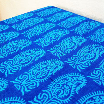 Turquoise Blue and Blue Print Fabric - Indian Cotton Fabric -  Pure Cotton Vegetable Dyed Fabric by Yard
