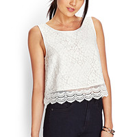 FOREVER 21 Floral Crochet Lace Top