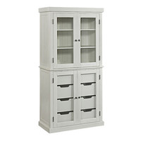 Home Styles Furniture 5022-64 Nantucket Distressed White China Pantry