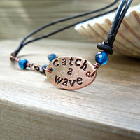 Black Leather Anklet, Beach Bling, Hand Stamped Copper Catch a Wave Ankle Bracelet, Blue Agate Leather Anklet, Leather Jewelry