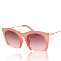 Plastic Frame Cateye Shape Synthetic Resin Lens Metal Legs Sunglasses with Half Frame Design 052221 S0606 Color Pink