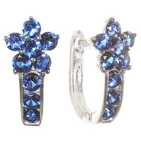 Leverback CZ Earrings Flower Sterling Silver - Many Colors Available