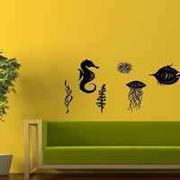 Wall Decor Vinyl Sticker Room Decal Art Seahorse Fish Ocean Jellyfish Alga Aquarium 999