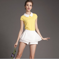 Yellow Short-Sleeve Peter Pan Collared Shirt And White Skirt Shorts