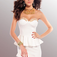 White Mini Peplum Dress with Gold Spike Embellishments.