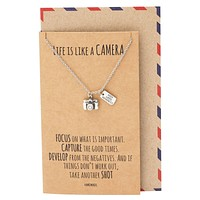 Ida Cute Camera Miniature Pendant Necklace for Women, Selfie Lovers, With Inspirational Quote Card