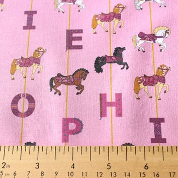 Personalized Pink Carousel Horse Child's Fabric for making quilts , throw pillows , curtains  , and other nursery or kids decor
