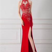 Front Split Sexy Red Beaded Backless Long Prom Dresses
