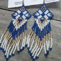 Hand Beaded Blue White Gold Earrings Native Style by WigWamCrafts on Zibbet