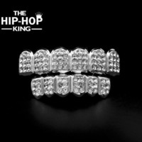 PEAP White Gold ICED OUT CZ Diamonds Teeth Top Silver Tone 3 Three Rows GRILL Set JOKER Tooth Bling Grillz