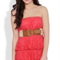 Tiered Strapless Dress with Daisy Lace and Crochet Belt