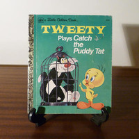 "Vintage 1975 Book ""Tweety Plays Catch the Puddy Tat"" - A little Golden Book / Kids Book / Great Condition / Looney Toons / Sylvester the Cat"