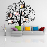 Vinyl Wall Decal Tree with Picture Frames, Flowers & Butterflies / Family Photo Forest Branches Art Decor Sticker + Free Random Decal Gift!