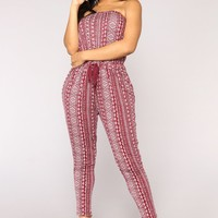 East Coaster Stripe Jumpsuit - Burgundy/White