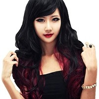 Cool2day Long Cosplay Curly Mix Black Wine Red Hair Party Full Wig+Free Wig Cap JF011514