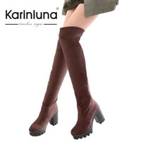 KarinLuna Big Size Thick High Heel Winter Shoes With Fur Velvet Sexy Over The Knee Boots Thigh High Boots Women Long Boots Woman
