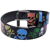 Neon Skulls Leather Belt