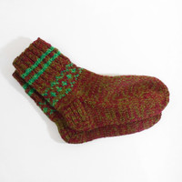 Hand Knitted Wool Socks - Dark Red, Brown and Green, Size Medium