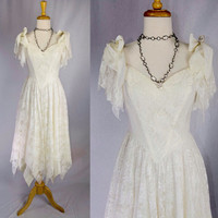 Vintage 80s Fairy Hem Dress Wedding Prom Ivory Lace Angel