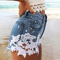 New Sexy Lace Stitching Denim Shorts Women Loose Thin High Waist Wide Leg Shorts