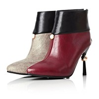 Pointed Toe High Heel Ankle Boots Spike Heel 8277