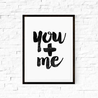 Digital Art Wall Hanging You and Me Typography Art Wall Art Decorative Arts Wall Hanging