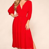 Hepburn Red Midi Dress