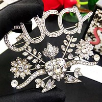 GUCCI GUCCY New fashion diamond letter brooch  women Silver