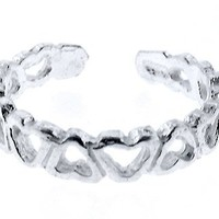 Sterling Silver Toe Ring Cut-out Band of Hearts, One Size Fits All