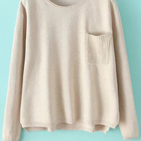 Pocket Solid Color Long Sleeve Sweater