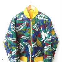 HOT SALE 90's Vintage United Color Of BENETTON All Over Print Hip Hop Yellow Reversible Jacket