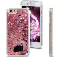 Liquid Glitter Phone Case for Iphone 5 5S (Black Cat, Pink Blossoms)