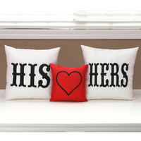 His and Hers Throw Pillows