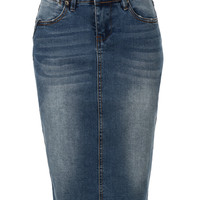 LE3NO Womens High Waisted Denim Pencil Skirt with Stretch (CLEARANCE)