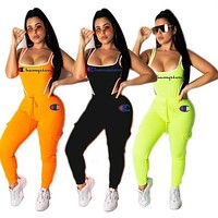 Champion women jumpsuits sleeveless rompers sexy skinny playsuit designer rompers fashion clubwear elegant breathable jumpsuit klw0990