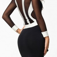 Long Sleeve Black and White Patchwork Midi Bodycon Dress One