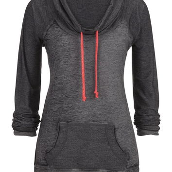 Cowl Neck Pullover With Contrast Ties - Gray