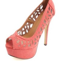 Cut-Out Python Peep Toe Platform Pumps by Charlotte Russe - Red