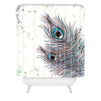 Monika Strigel Boho Peacock Feathers Shower Curtain