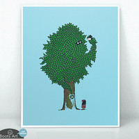 What the Bark is THAT - matted art print. 5x7 or 8x10. A Giving Tree parody art print. He's pretty angry...