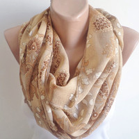 Infinity Scarf,  Loop Circle, Brown flowers Scarf, Spring Accessory, women scarf, mothers day gifts, women accessories, scarves, scarf.