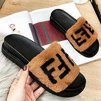 Fendi Fashion New Letter Print Women Slippers Fur Shoes Brown