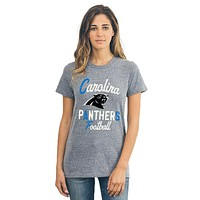 Carolina Panthers - Letters And Logo Touchdown Tri-Blend Juniors T-Shirt