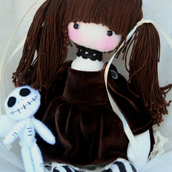 Adele handmade gothic doll and her spooky companion