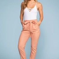 Evening Breeze Paperbag High Waisted Pants - Rose