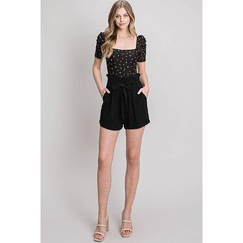 Allie Rose Elastic Waist with Tie and Pockets Soft Linen Shorts