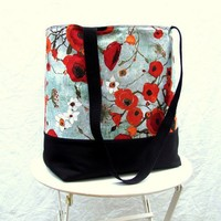 Poppies tote bag shoulder bag book bag canvas bottom