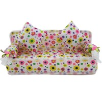 Free Shipping Mini Dollhouse Furniture Flower Cloth Sofa Couch With 2 Full Cushions For Barbie Doll House Toys Hot Selling