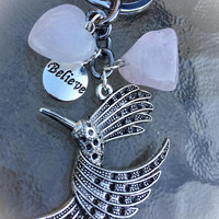 Rose Quartz Crystals, Beautiful Big Hummingbird Charm, BELIEVE, Keychain with Free Bag & Angel Message Card.Healing Energy Infused. TEMPT